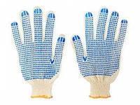 Перчатки х/б 7,5 класс 4 нити с ПВХ белые
