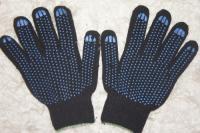 Перчатки х/б 10 класс 4 нити с ПВХ чёрные