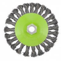 """Щетка для УШМ, 125 мм, М14, """"тарелка"""", крученая металлическая проволока. СИБРТЕХ"""