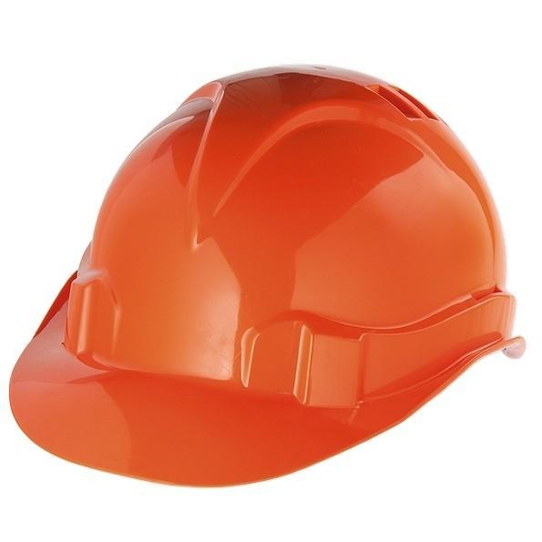 Каска защитная из ударопрочной пластмассы, оранжевая, Россия. СИБРТЕХ