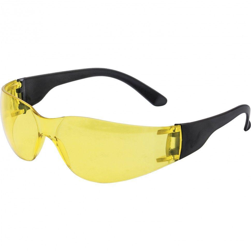 Очки защитные СИБРТЕХ рабочие, пластик, с дужками, желтые